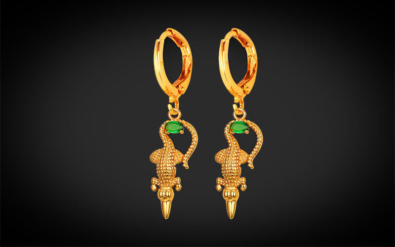 PNG Jewellers Gold Earrings Crocodile Gold Plated Earrings