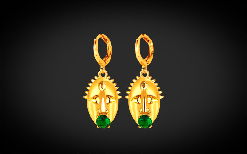 PNG Jewellers Gold Earrings Indigenous Mask Designed Gold Plated Earrings
