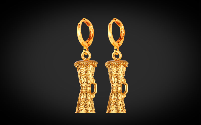 PNG Jewellers Gold Earrings Kundu Drum Designed Gold Plated Earrings