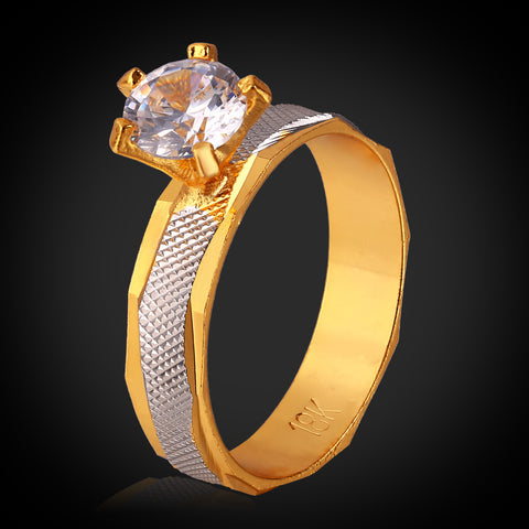 U7 gold plated engagement ring-The rule of wearing rings