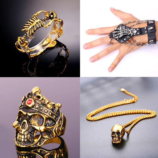gold plated skeleton designed jewelry collection u7