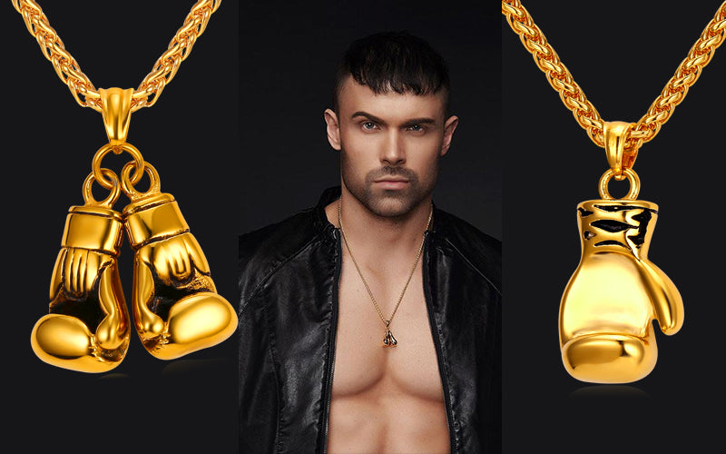 Sport Inspired Necklace-Sport Gold Plated Boxing Glove Pendant Necklace
