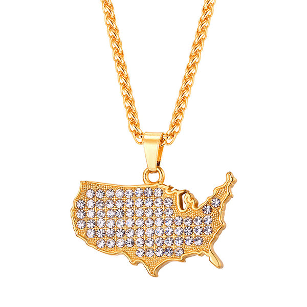 united states map pendant necklace with CZ stones