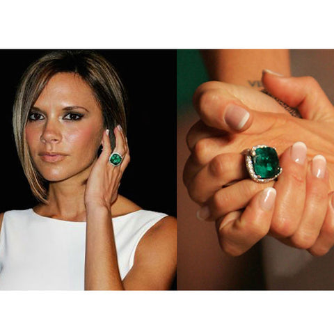 Victoria Beckham wear colored stone and gemstone wedding ring