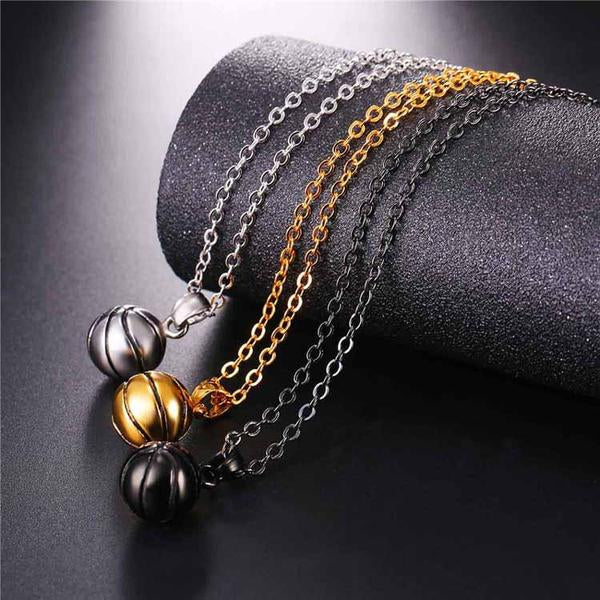 cable chain necklace with baseket ball pendant