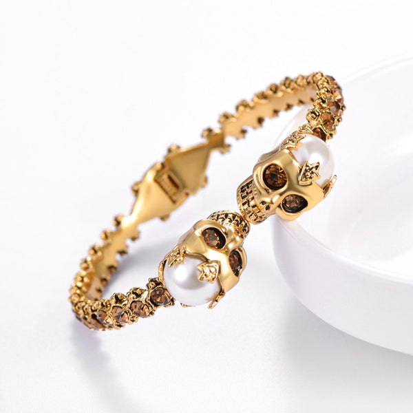 Halloween Jewelry-Skull Jewelry Collection: crystal stone set skull bracelet