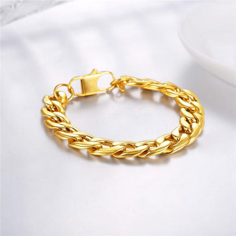 gold plated Cuban link chain bracelet