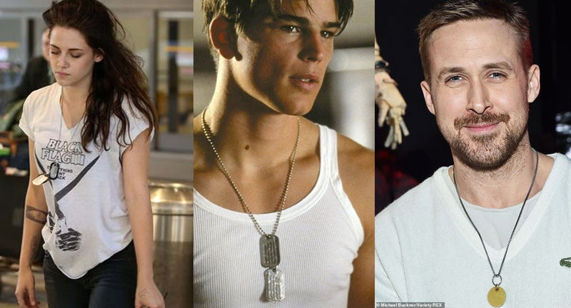 celebrities wearing dog tag necklaces