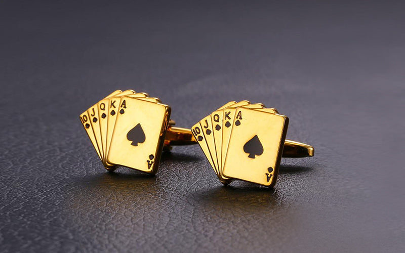 Gold Poker Card Enamel Cufflinks For Man