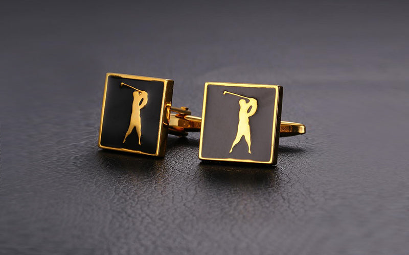 Luxury Golf Design Enamel Cufflinks For Man