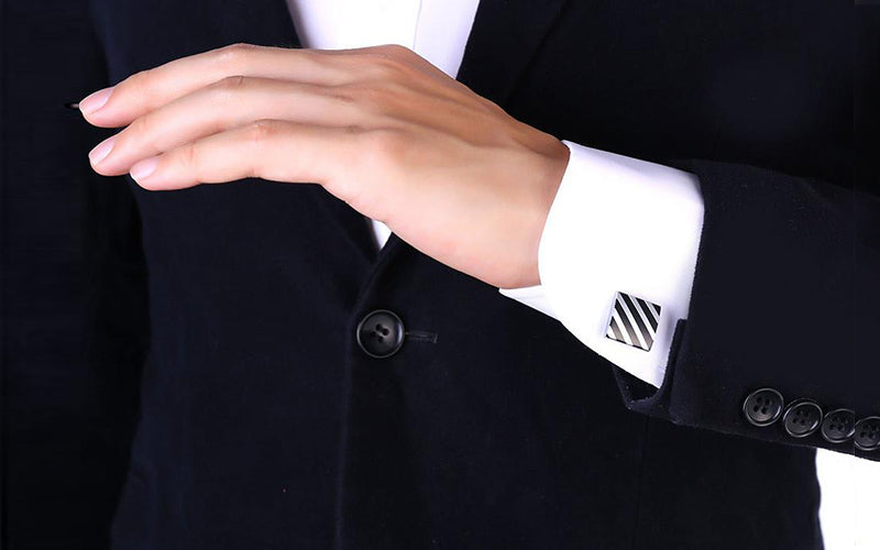 Vintage Diagonal Stiripes Cufflinks For Business Man