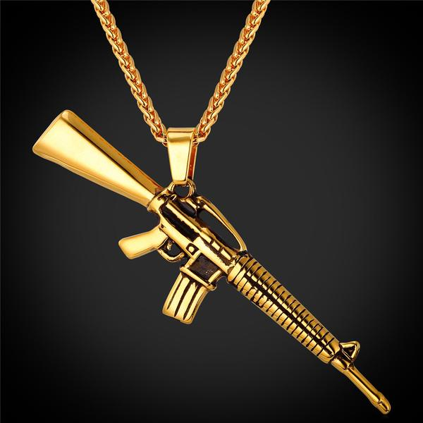 gold plated automatic machine gun design pendant necklace