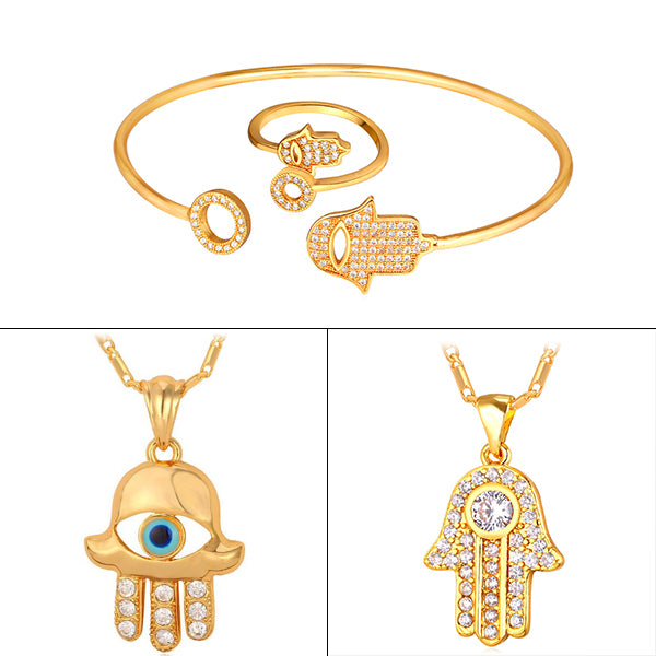 hamsa hand inspired pendant necklace and bracelet