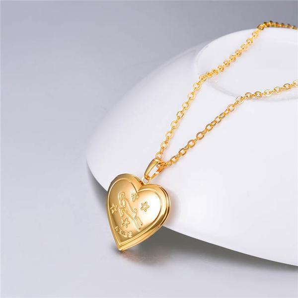 gold plated Aries designed locked necklace