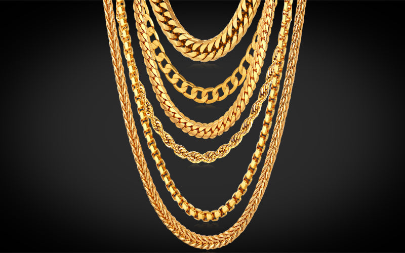 Hip Hop Fashion Jewelry Wholesale 18K Gold Plated Chains Necklace