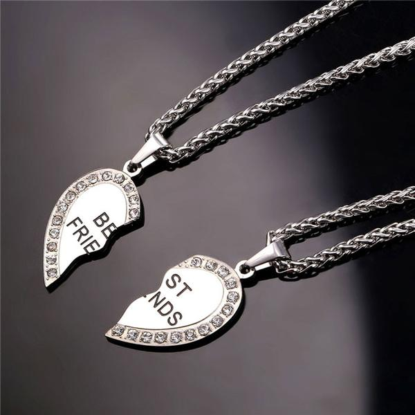 stainless steel friendship necklace with heart shape