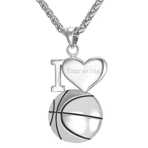 Engravable I Love Basketball Charm Necklace Hip Hop Sports Fan Jewelry
