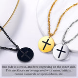 Engraved Coin Necklace Round Shaped Cross Pendant Custom Religion Jewelry