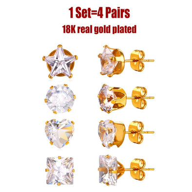 Shiny unisex 4 pairs 316L stainless steel/18K gold plated AAA+ cubic zirconia Heart / Star / Square / Round shape stud earrings set