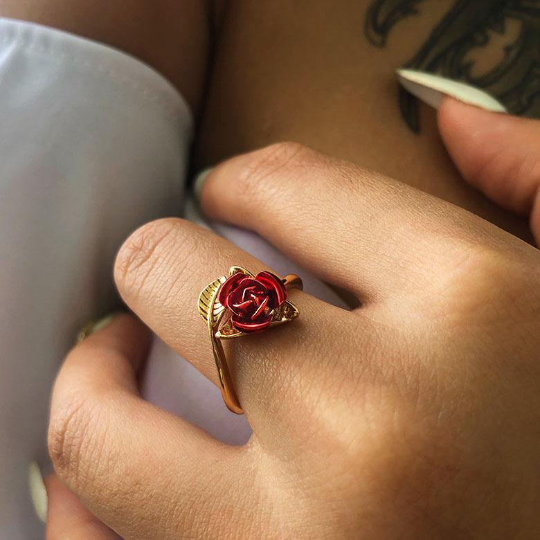 Red Rose Flower Ring 18K Gold Plated Jewelry Gifts For Women – U7 ...