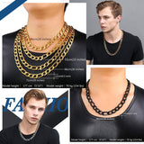 12MM 18K Gold Chain for Men 5 Sizes Big Figaro Chain Stainless Steel Chain Necklace