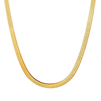 Gold chain for women fashion 3mm wide 18k gold plated flat snake chain necklace choker