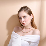 White/black Color Multi-layer Long Pearl Collar Necklace For Women Gift Vintage Pearls Jewelry