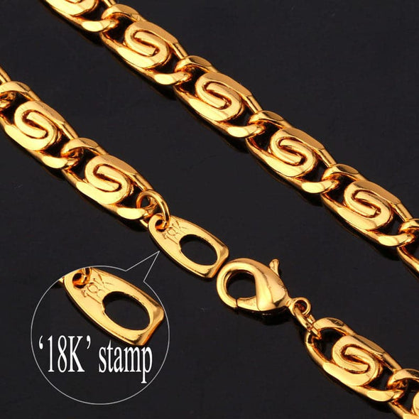 6MM Width Gold Chain For Men Punk Style Snail Chain Necklace