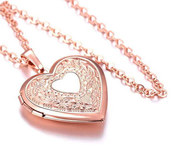 Personalized Text Engravable Heart Custom Photo Locket Pendent Necklace Rose Gold Plated