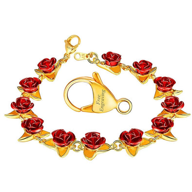 Classic Hot Red Rose Flower Floral Charm Pendant Chain Bracelet