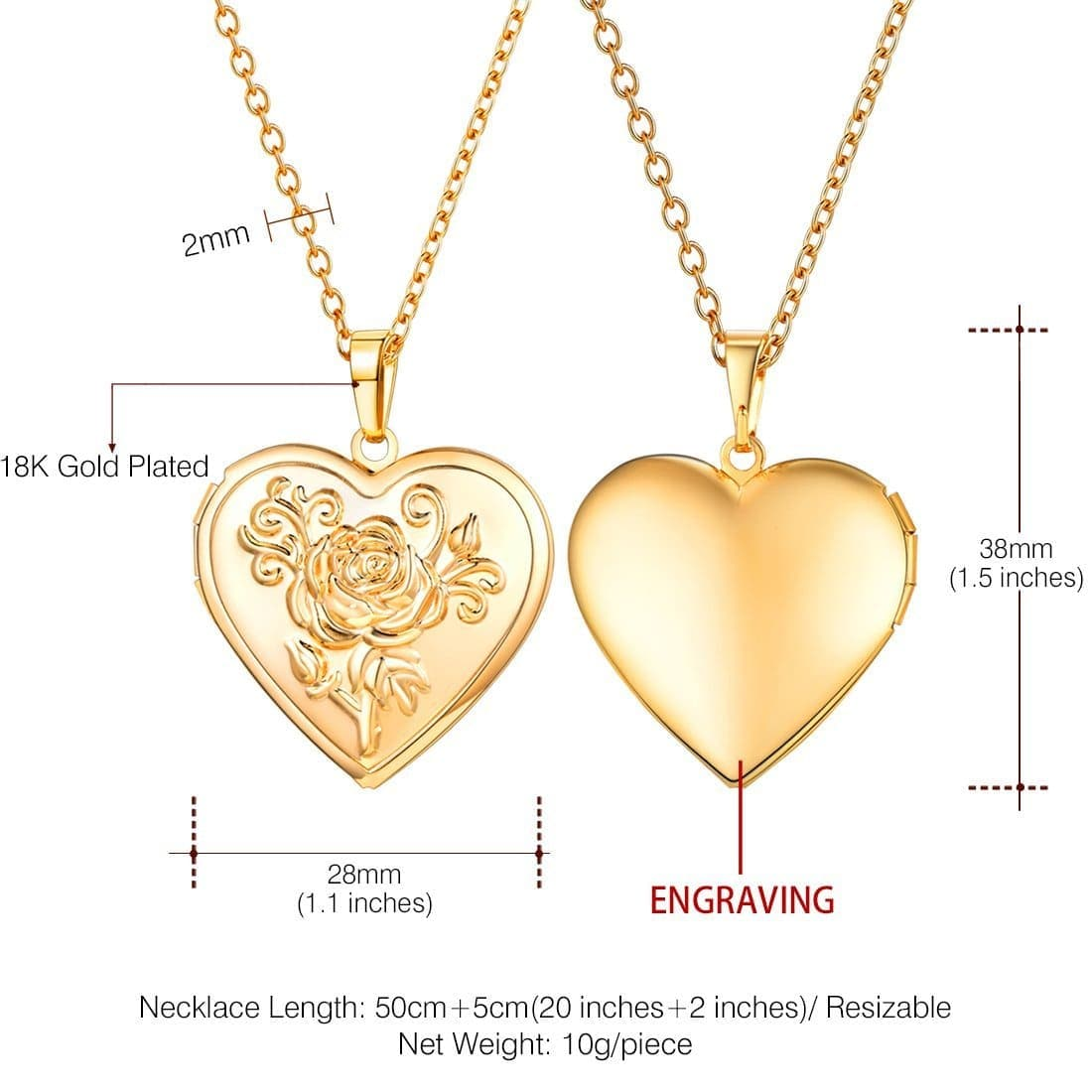 Classic Engravable Heart Locket Necklace Personalized Photo Locket Pendant
