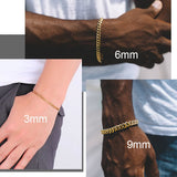 3mm/6mm/9mm Wide Hip Hop Gold Plated Cuban Link Chain Bracelet For Men