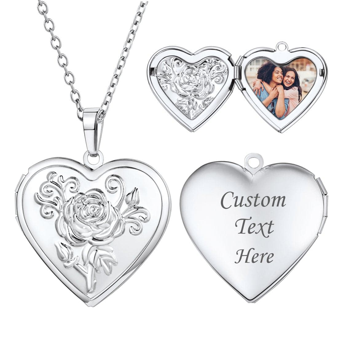 Vintage Heart Engraved Locket Necklace With Photo Personalized Gift