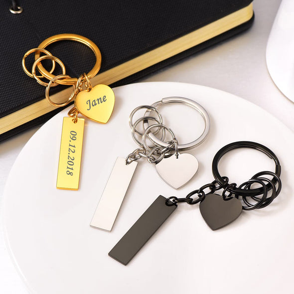 Personalized custom 316L stainless steel 18K gold/black plated charm flat rectangle vertical bar and heart tag house car keychain