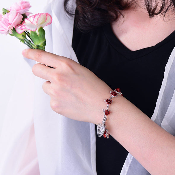 Boutique Red Rose Bracelet With Engravable Heart Photo Locket for Women
