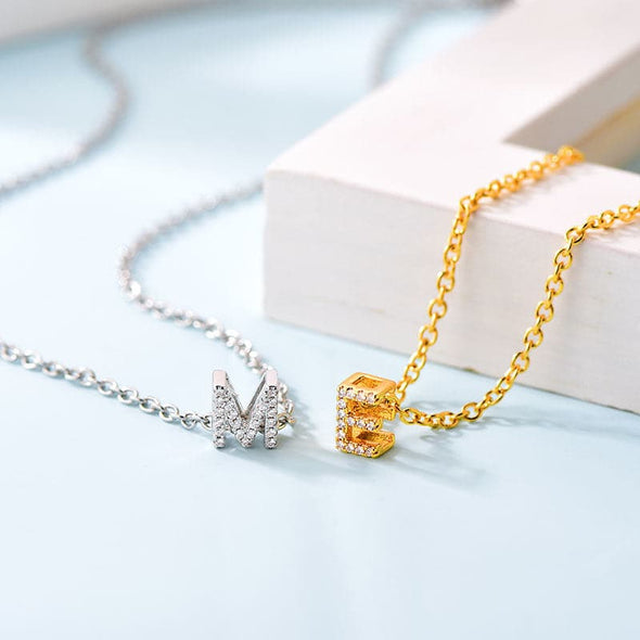 Micro-Paved Cubic Zirconia Personalized Custom Initial Letter Necklace