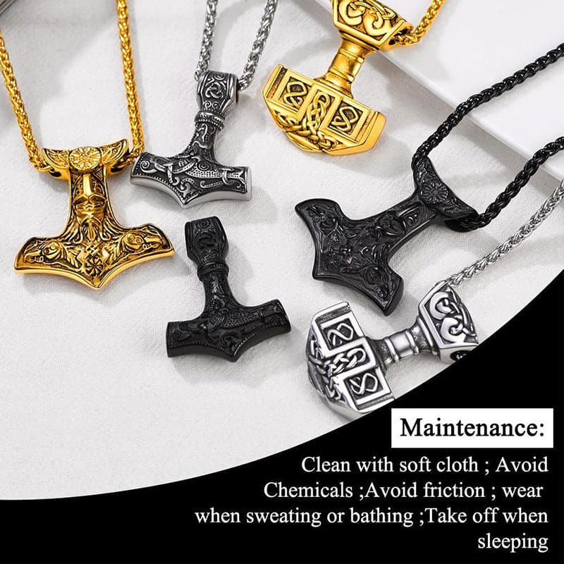 Vintage 316L stainless steel 18K gold/black plated Norse Viking Odin Thor's Hammer talisman necklace