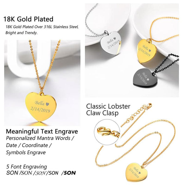 Customized Heart Necklace Free Engraving 18K Gold Plated Rolo Chain Jewelry Gift For Women