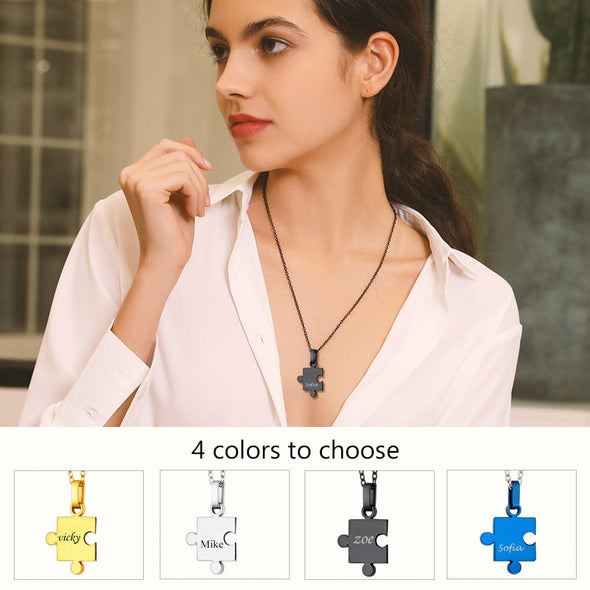 Personalized Free Engraving Buff Puzzle Necklace 2-8 Pieces Pendant