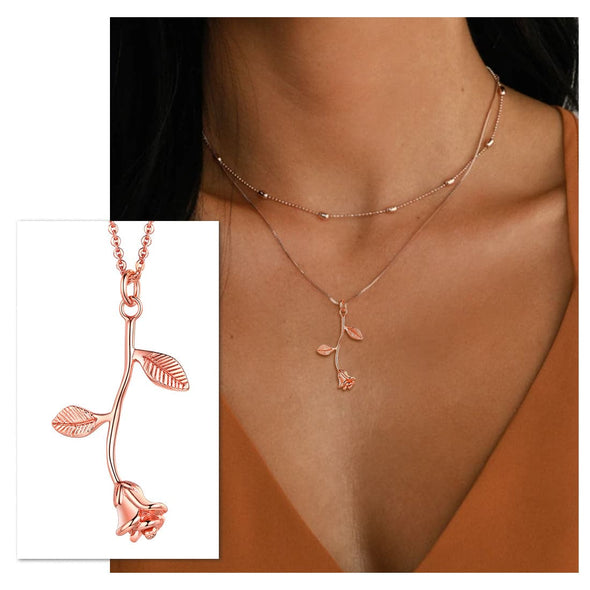 Classic 3D Rose Flower Necklace Floral Charm Pendent Choker For Women Rose Gold Plated
