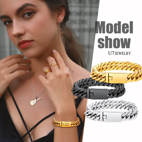 Luxury 16mm Wide Engravable ID Bar 316L Stainless Steel 18K Gold/Black Plated Miami Curb Cuban Link Chain Bracelet Rapper Hip Hop Style