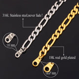 5MM Wide Gold Plated Men Necklace Stainless Steel 5 Sizes Long Figaro Chain Necklace