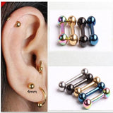 Punk Rock Gothic Stainless Steel Ball Barbell Screw Back Ear Stud Earrings 5 Pairs Set