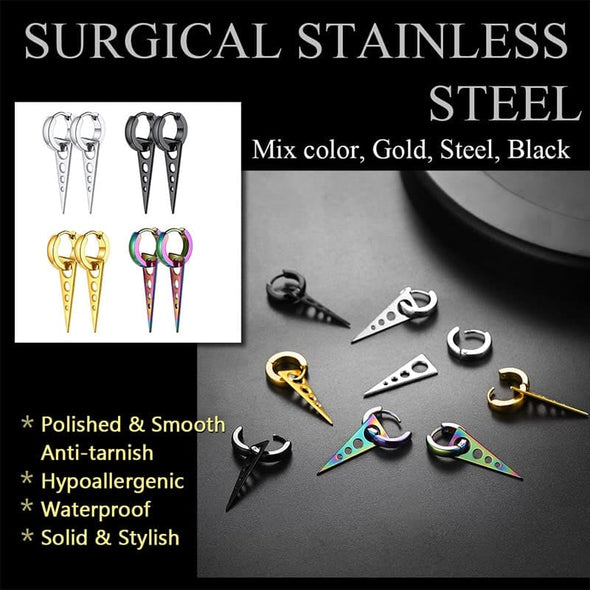 Punk Style Stainless Steel Four Pairs Triangle Hoop Huggie Earrings Set For Men And Women