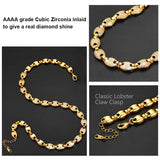 18k Gold Plated Micro Paved CZ Anchor Mariner Link Chain Coffee Beans Hip Hop Chain Necklace For Men And Women