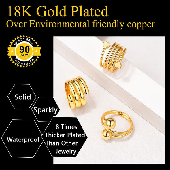 3PCS Spiral Wrap Twist Knuckle Ring Set 18K Gold Plated Women Engagement Promise Rings