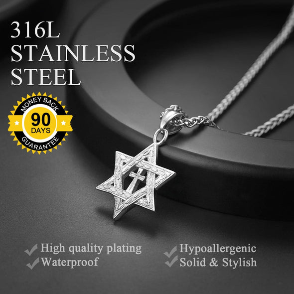 18K Gold Plated  Star Of David Pendant Necklace With Cross