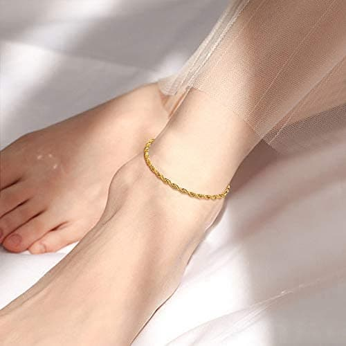 Simple Adjustable Handcrafted Slim 3MM Wide Platinum/18K Gold Plated Twisted Rope Chain Anklet Foot Bracelet Barefoot Jewelry With 5CM Extending Chain For Women Girls