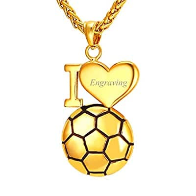 Persoanlized Engravable I Love Soccer Pendant Necklace Sport Jewelry