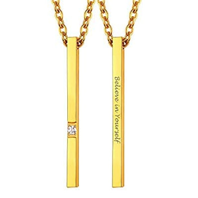 Engravable Minimalist Dainty Long Vertical Bar Necklace For Women